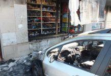Горящ автомобил подпали блок в Монтана